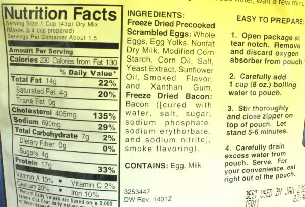 Scrambled Eggs with Bacon (pre-cooked) Freeze-dried Pouched Breakfast