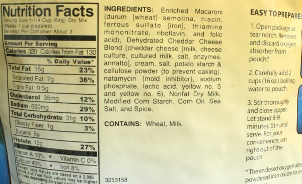 Macaroni and Cheese Freeze-dried Pouched Food or Meal