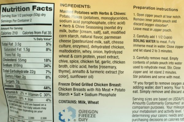 Chicken Breasts and Mashed Potatoes Freeze-dried Pouched Food or Meal