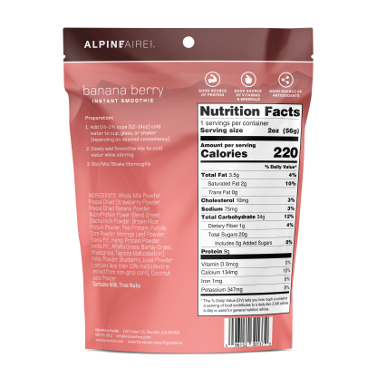 Banana Berry Instant Smoothie package back